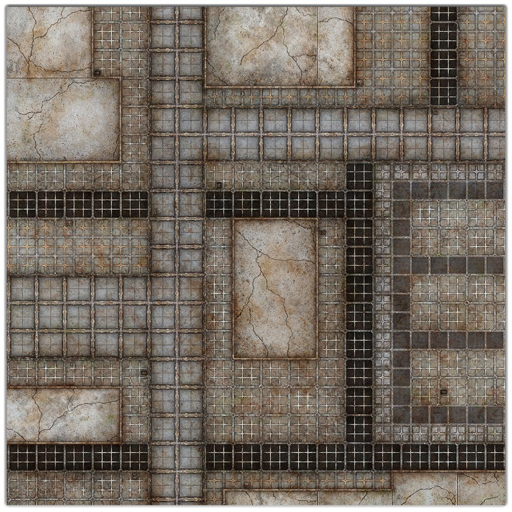 Industrial Sector Wargaming Play Mat – 36x36 Inch Table Top Roleplaying and Miniature Battle Game Mat Great for Warhammer 40k Star Wars Minis Warmachine Polyester with Anti-Slip Rubber Backing