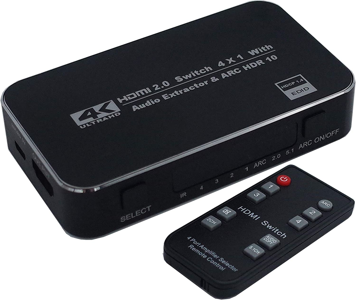 HDMI Switch 4x1 with Audio Extractor 4K@60Hz 3.5mm Audio Optical TOSLINK Ultra HD 4 Port HDMI Switcher 1080p 3D ARC Function