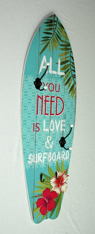 Vintage - Perchero de pared Surf - 90 x 30 cm, azul, diseño ...