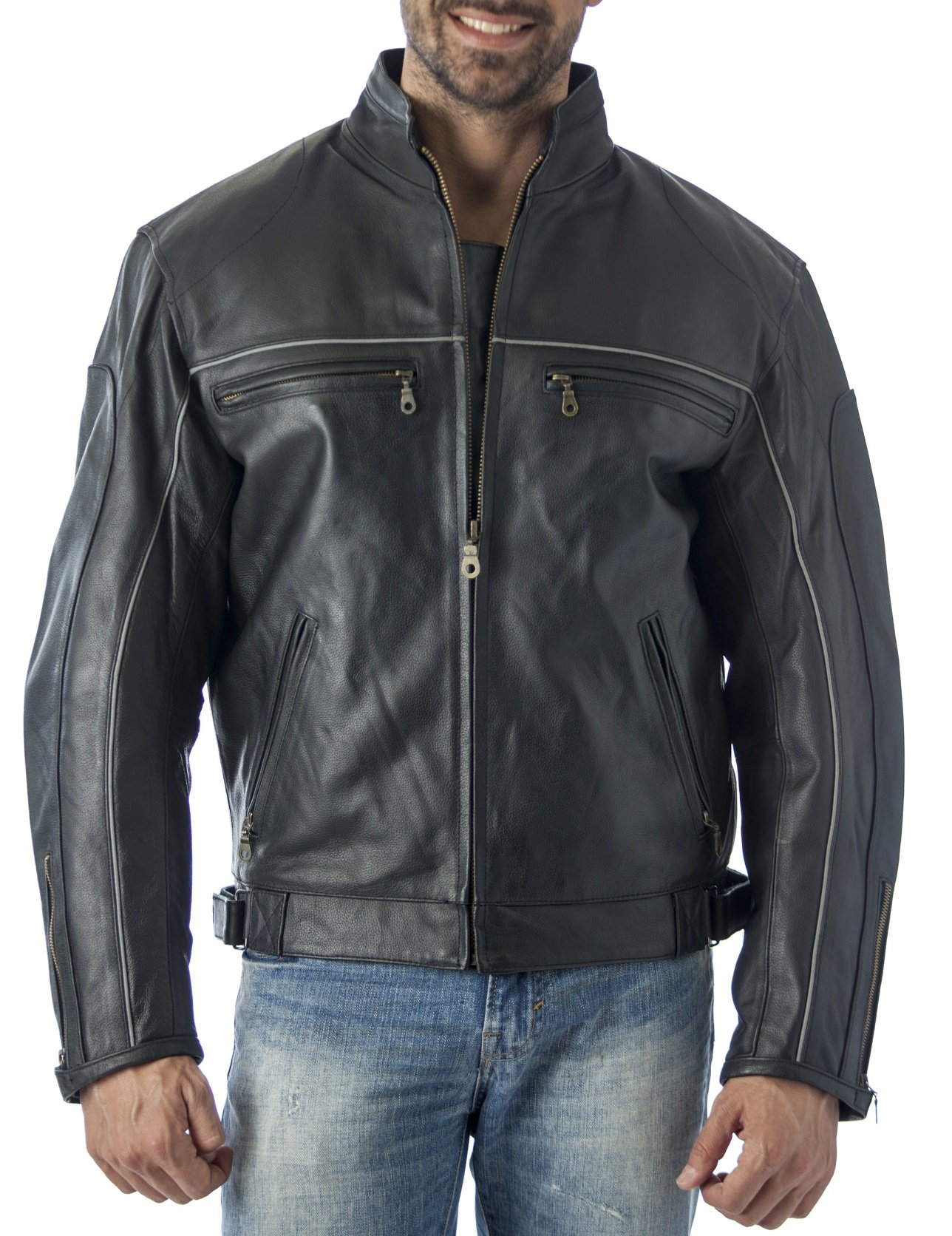 Reed Mens Vented Leather Motorcycle Jacket with Light Reflector (4X) by REED