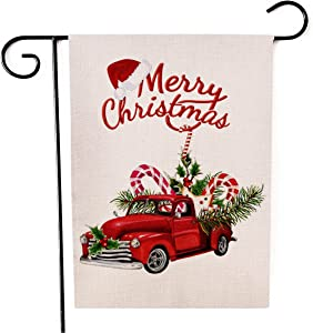 Kissenday Merry Christmas Linen Garden Flag, 12.5 x 18 Inch Vertical Double Sided, Truck Hat Candy Cane Xmas Banner Flag Winter Holiday Yard Outdoor Decor