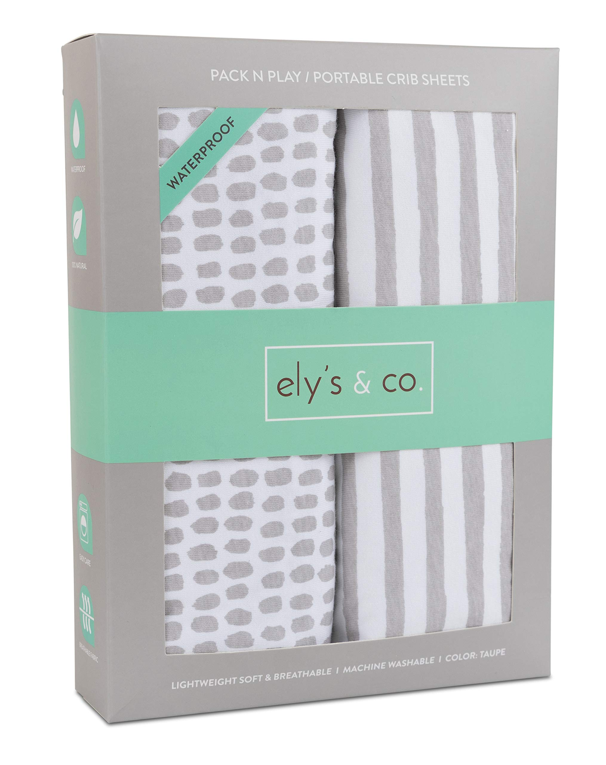 Waterproof Pack N Play/Mini Portable Crib Sheet with Mattress Pad Cover Protection I Taupe Stripes and Splash by Ely's & Co.