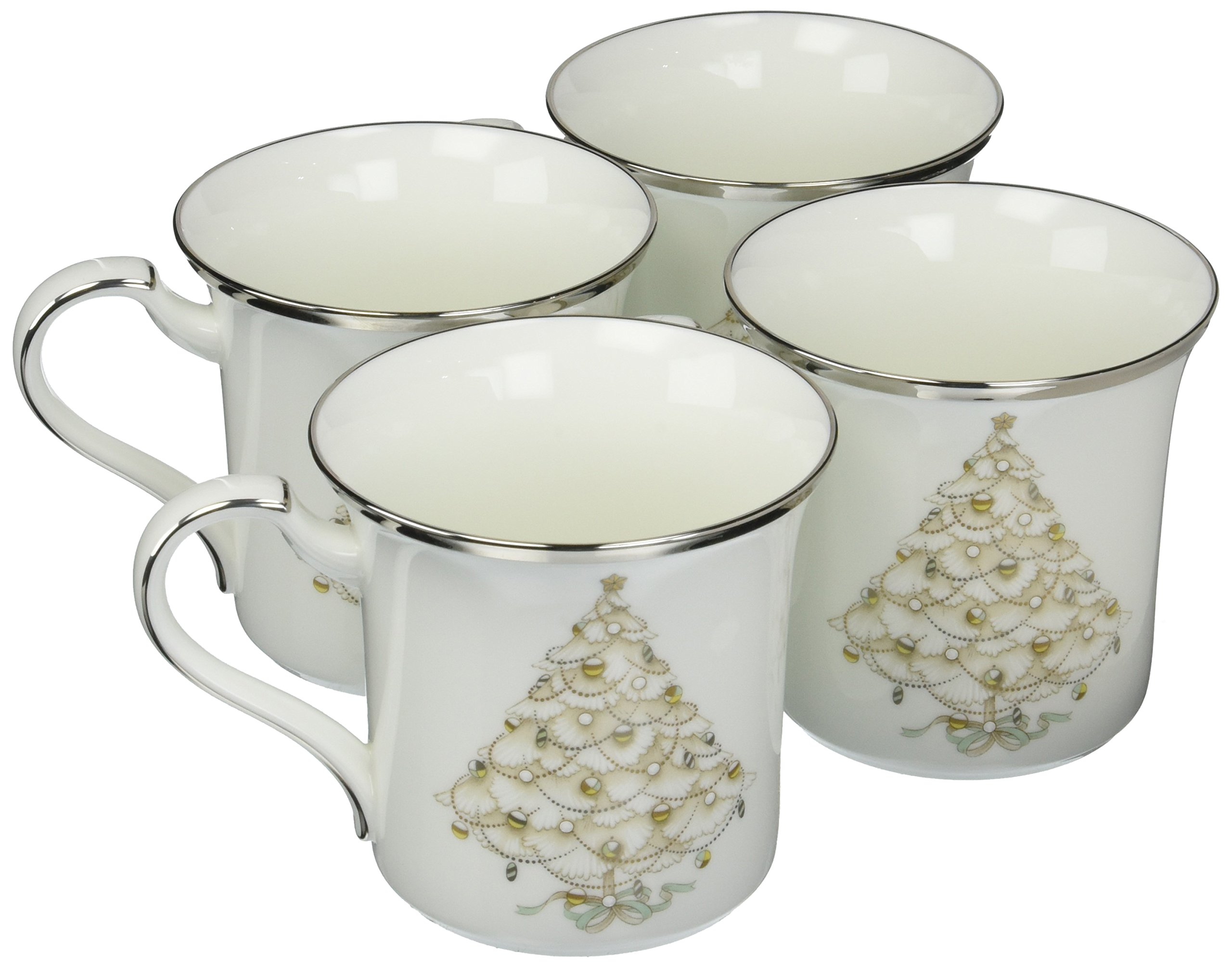 Noritake Palace Christmas Holiday Accent Mug, Platinum, Set of 4