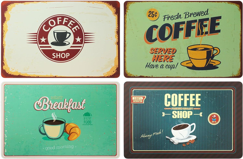 Ootb Juego de 4 mesas: Coffee Retro Look desayuno café Retro Cartel Coffee Shop – Mesa estera/mantel/manteles individuales de plástico lavable 43 x 28 cm
