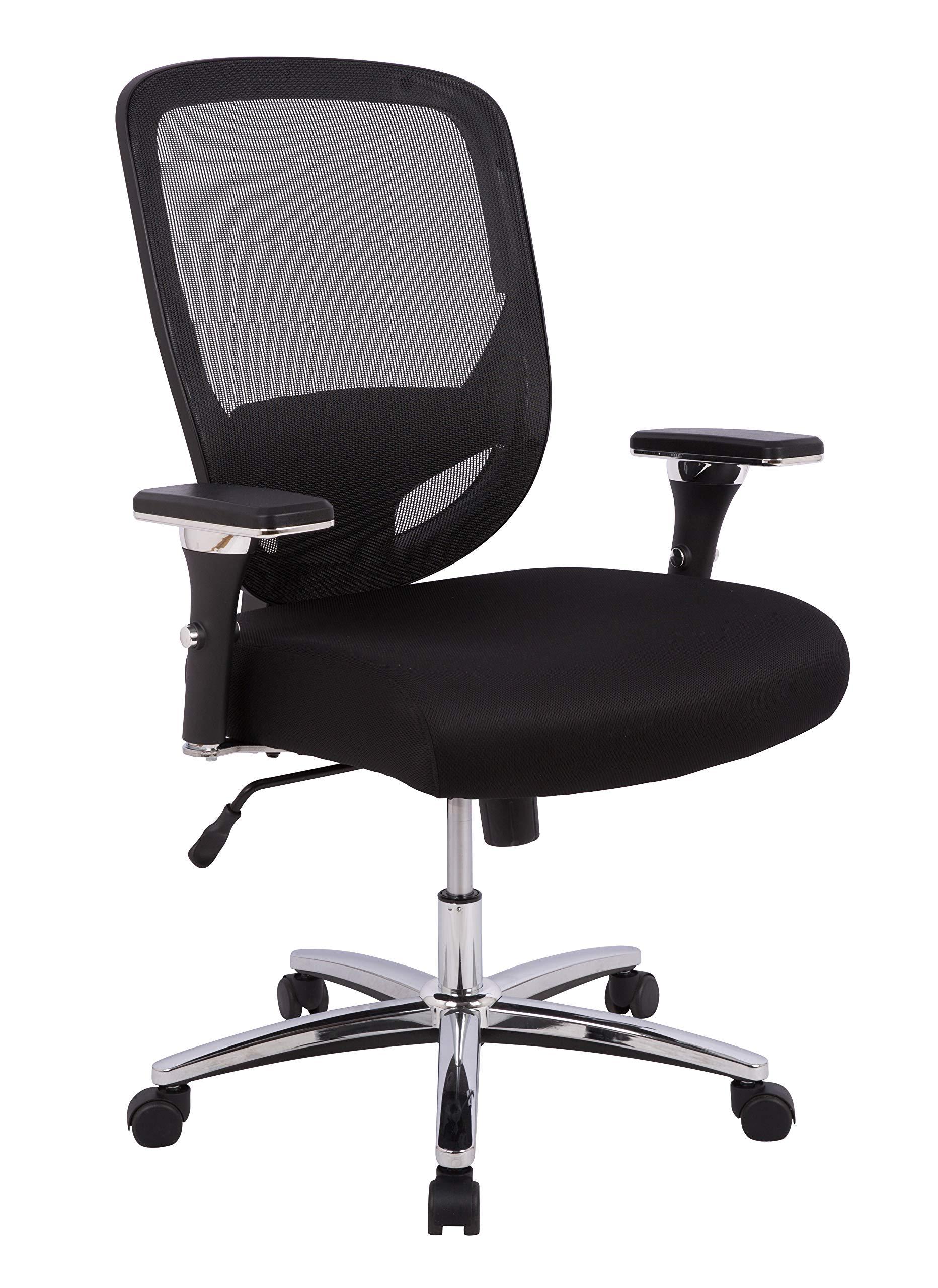 AmazonCommercial Ergonomic 500-pound Oversized Mesh Chair with Adjustable Armrests and Chrome Base- Black by AmazonCommercial