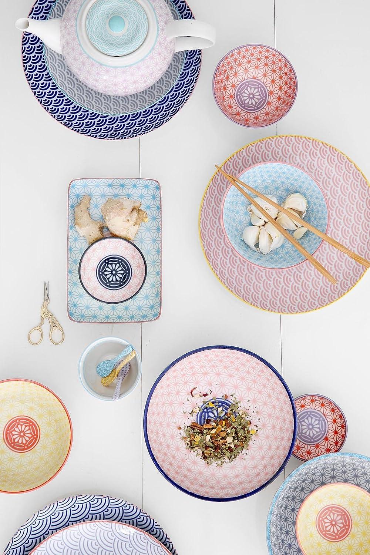 TOKYO design studio, Star Wave, 3 Teller Teller Teller Set 20,6cm, Japan, rund, in dekorativer Geschenkbox. Kuchenteller Porzellan Set. B075S9YG2Z Kuchenteller b4dfad