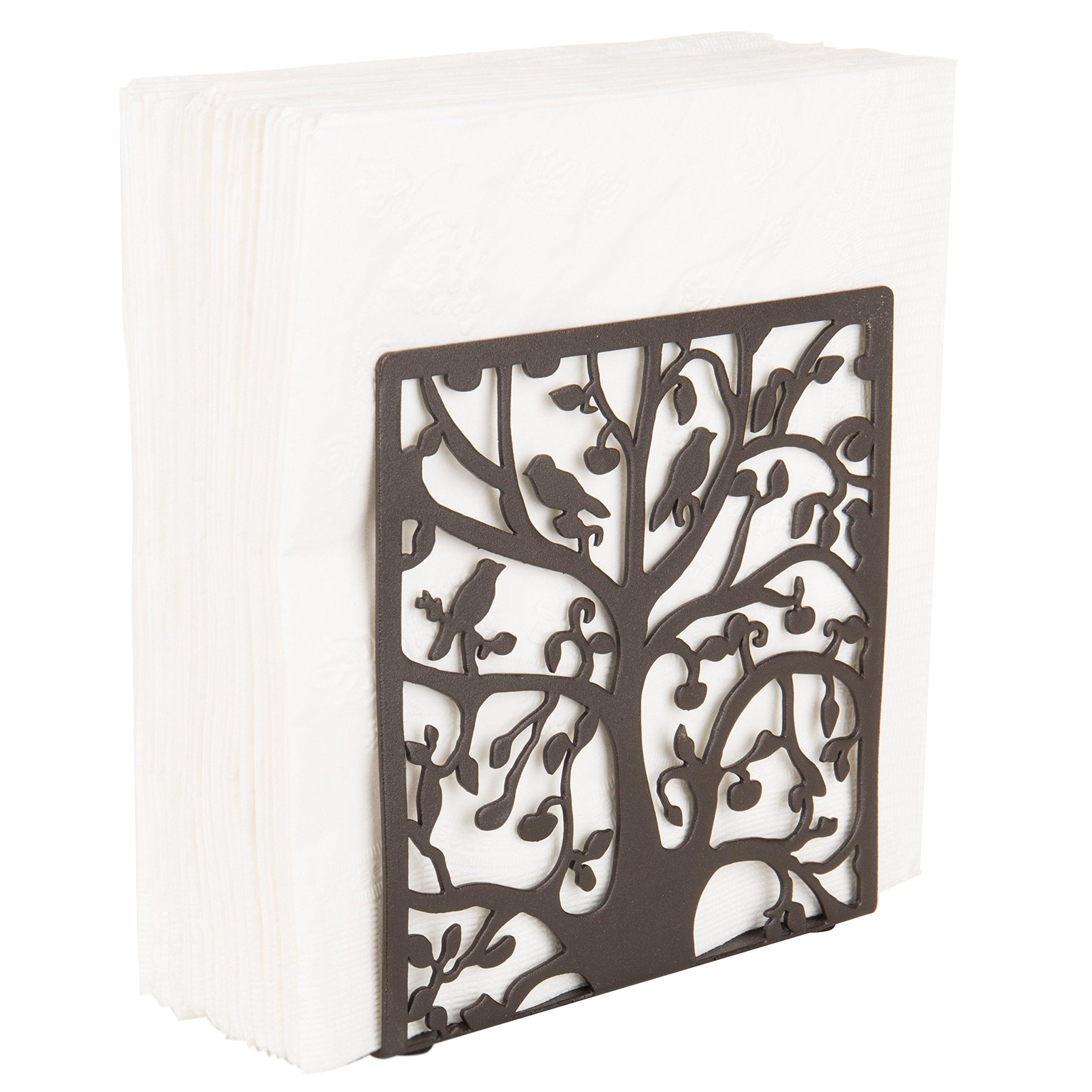 Coffee Metal Tree & Bird Design Tabletop Napkin Holder/Freestanding Tissue Dispenser