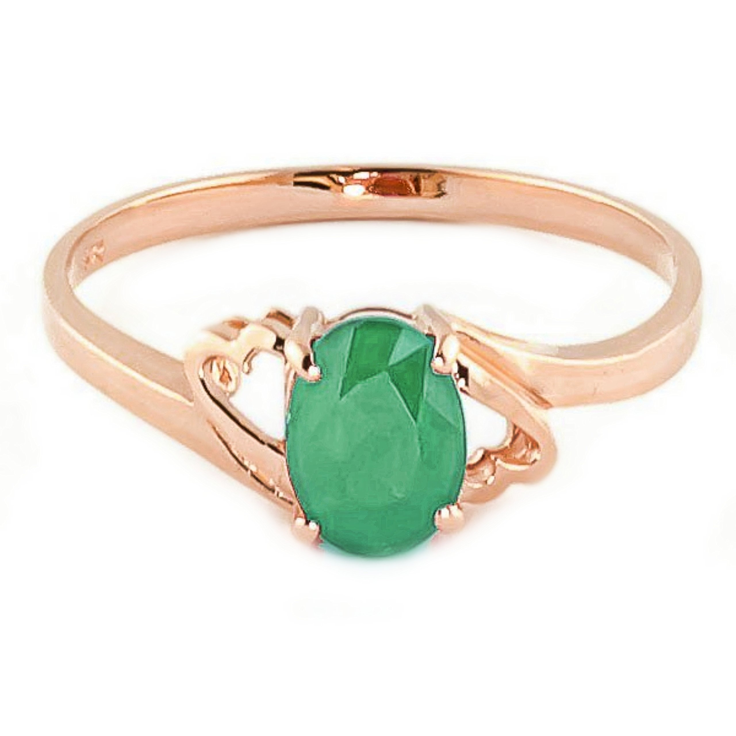 Galaxy Gold 14k Rose Gold Natural Emerald Ring - Size 10.5