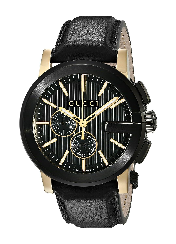 Gucci YA101203 - Reloj de Cuarzo Unisex, con Correa de Acero Inoxidable, Color Negro: Amazon.es: Relojes