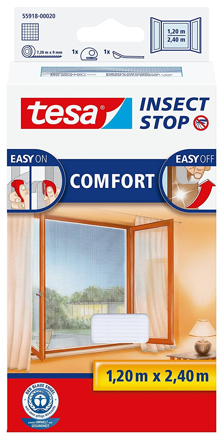 tesa UK Ltd 55918-00020-00 Insect Stop Hook and Loop Comfort For French Windows, Easy-On and Easy-Off Insect Screen, 1.2 x 2.4 m - White Adhesive bed fly screen easy opening