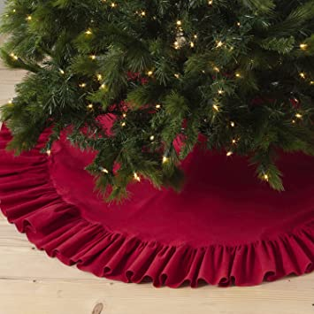 R56R Ruffled Cotton Tree Skirt Red 56quot