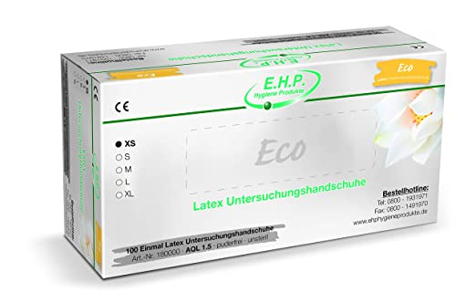Ehp Dental Eco Latexhandschuhe Einweghandschuhe Untersuchungshandschuhe 100 Stück Größe Xs