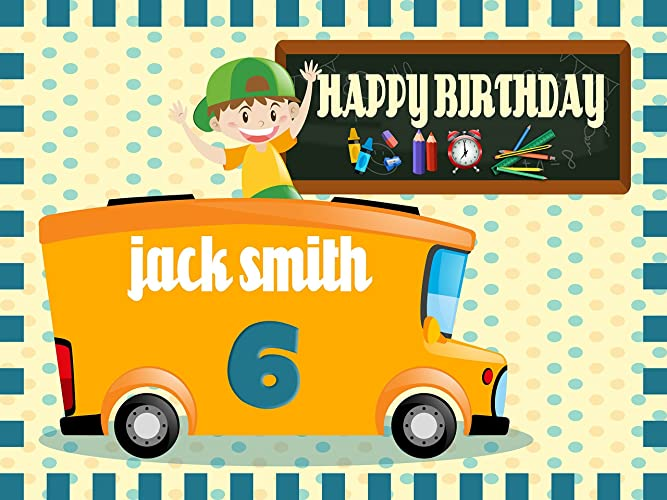 Amazon.com: Custom Home Décor School Bus Birthday Banner - Size ...
