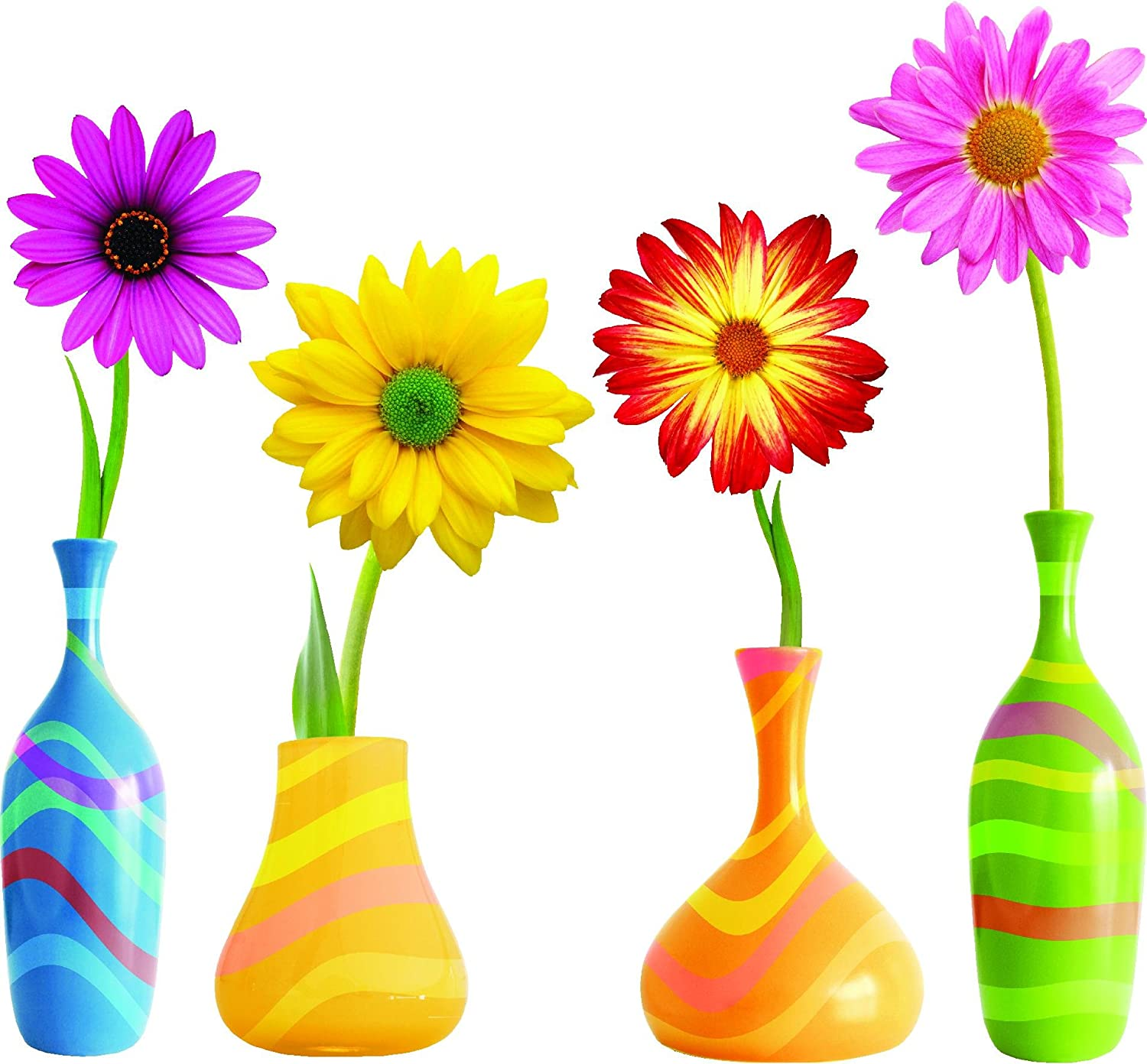 Amazon.com: Daisy Flowers with colorful vase SET Repositional and ...