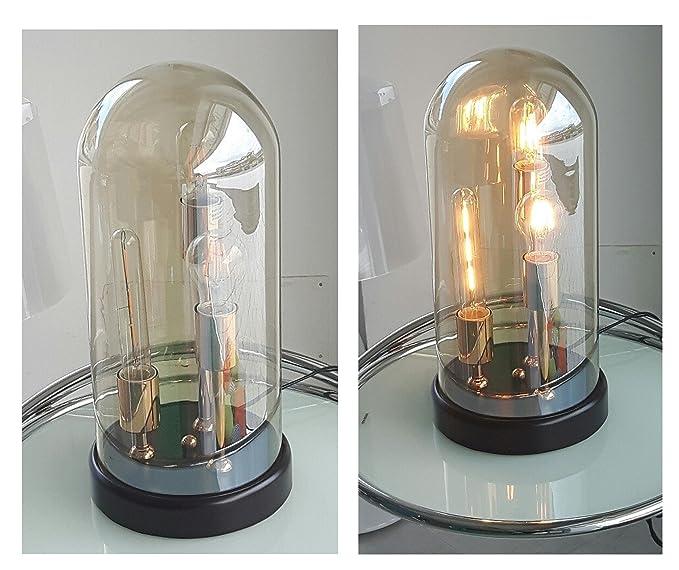 TXT Pusher - Lámpara de mesa con 3 bulbos LED Campana ...