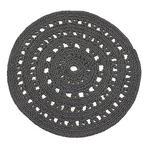 NACO Comercio árabe Crochet Alfombra, Gris, pequeño
