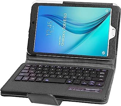 SCIMIN Funda para Samsung Galaxy Tab E 8.0, funda para teclado Galaxy Tab E 8.0, funda protectora de piel con teclado Bluetooth extraíble para Samsung ...