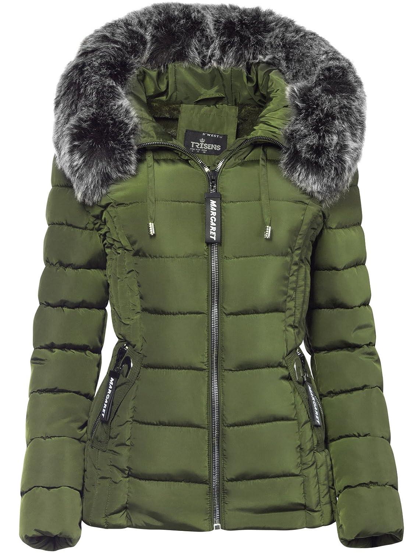 Trisens Damen Winter Jacke Pelz Kapuze KURZ Mantel SKI Jacke DAUNEN Optik