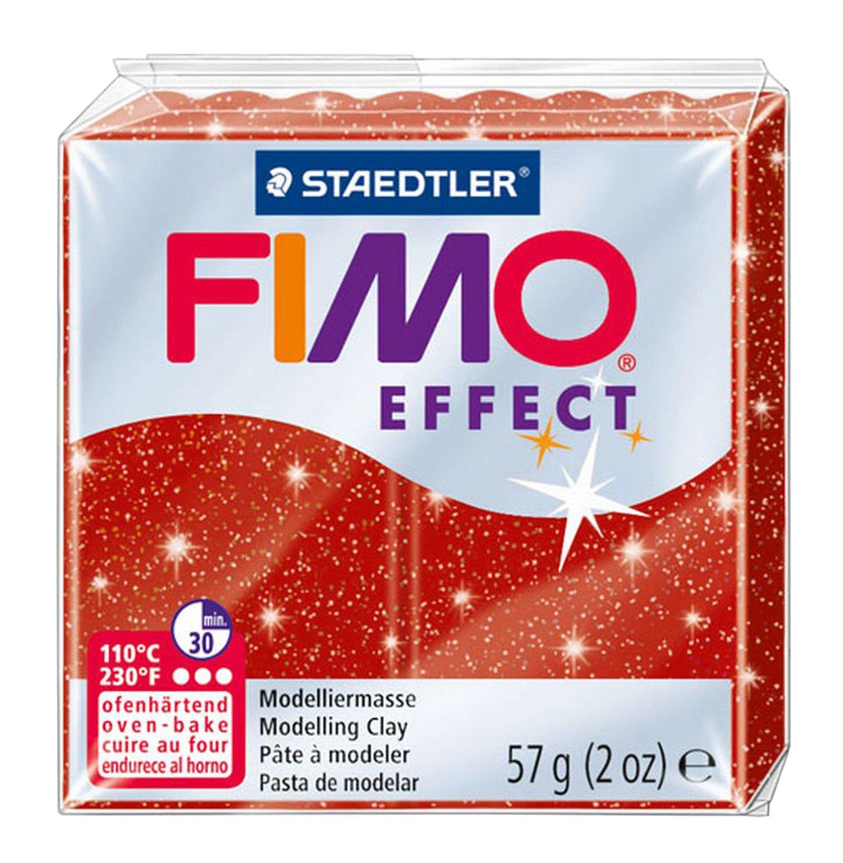 Pasta de modelar Fimo 8020-202 color rojo purpurina