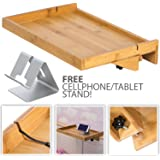 LifeSmart Bamboo Lacquered Bed Shelf with Bonus Phone Stand - Bigger Then The Original- 14.5 inches by 10.5 inches by 1 inch Shelf