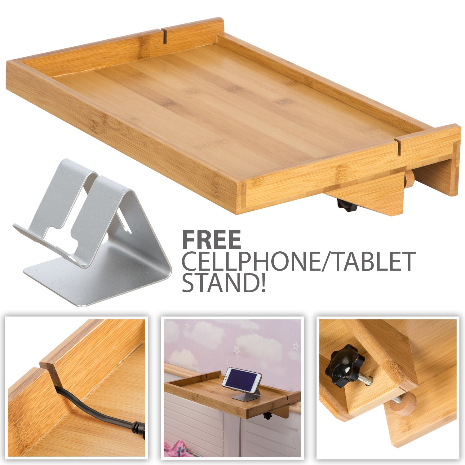 LifeSmart Bamboo Lacquered Bed Shelf with Bonus Phone Stand - Bigger Then The Original- 14.5 inches by 10.5 inches by 1 inch Shelf by LifeSmart