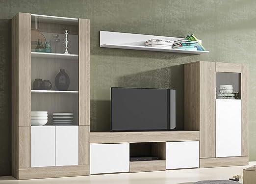 Miroytengo Pack Muebles Comedor Karla 3 diseño Moderno salón (Mesa TV +  Vitrina Baja + Vitrina Alta + Estante)