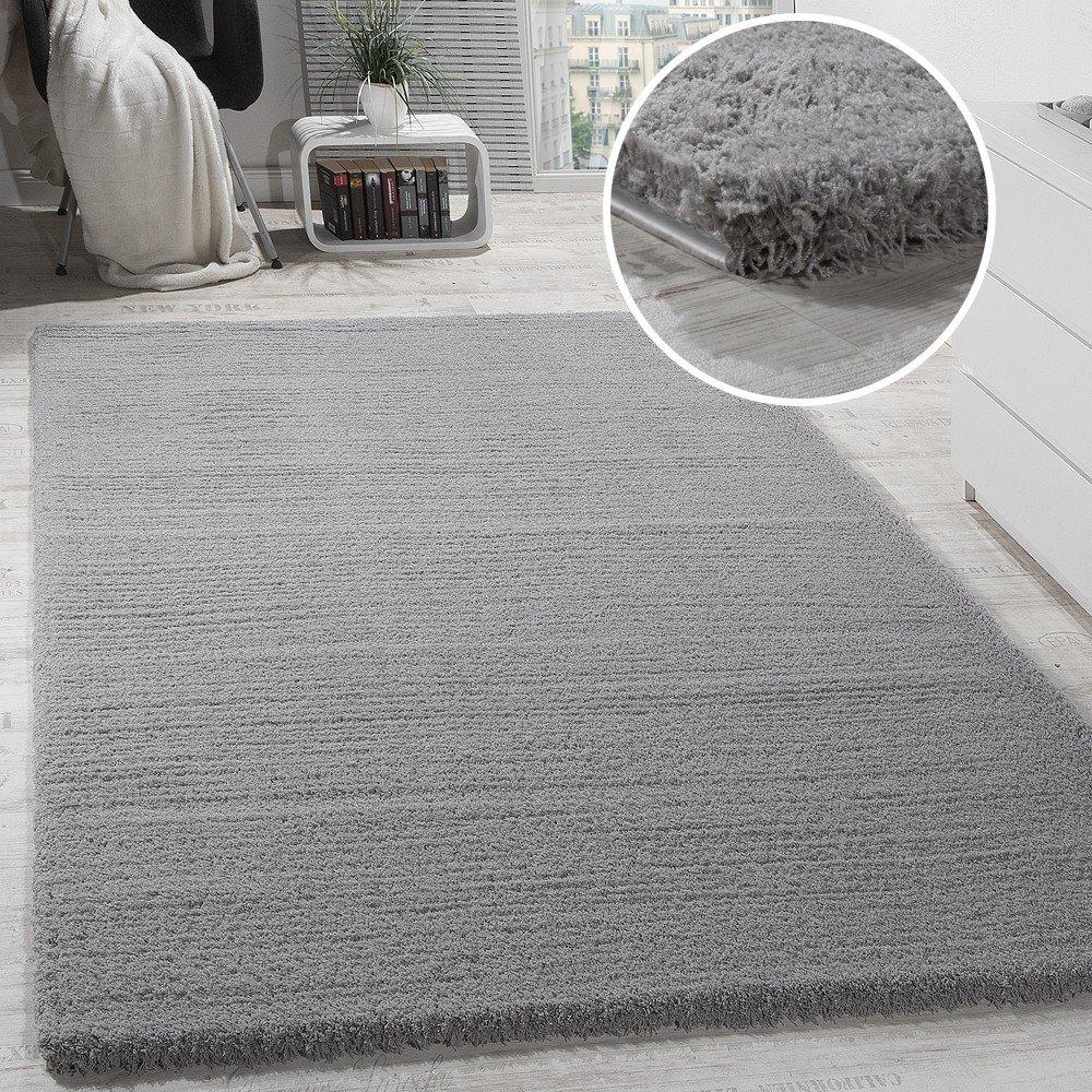 Paco Home Shaggy Teppich Micro Polyester Wohnzimmer Teppiche Elegant Hochflor Grau, Grösse 200x280 cm
