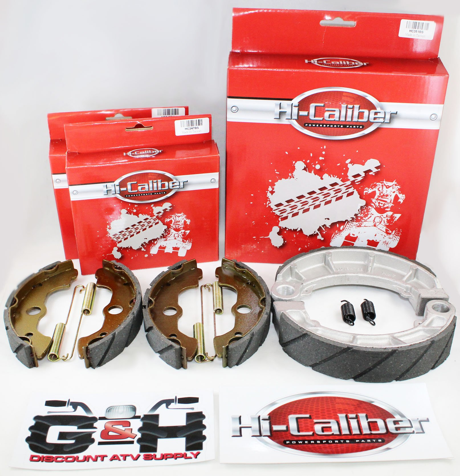 WATER GROOVED Front & Rear Brake Shoes & Springs SET for the Honda 2000-2006 TRX 350 Rancher ATV by Hi-Caliber Powersports Parts (Image #1)