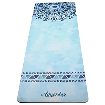 AIMERDAY Non Slip Yoga Mat Eco-Friendly Thick Workout & Exercise Mat Microfiber Combo Sweat-Grip Towel Mat 2 in 1 Natural Rubber Mat for Hot Yoga, ...