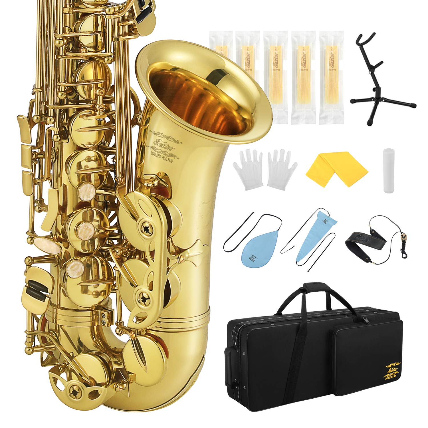 Eastar Professional Alto Saxophone E Flat AS-Ⅲ Commander Eb Saxophone Gold Full Kit Sax With Carrying Case Mouthpiece Strap Reeds Stand Cork Grease