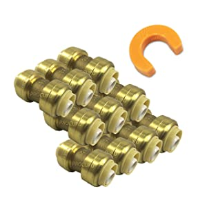 "PROCURU 1/2-Inch PushFit Combo Kit - 1/2"" PushFit Couplings (10 pcs) PLUS 1/2"" Disconnect Clip (1 pc) 