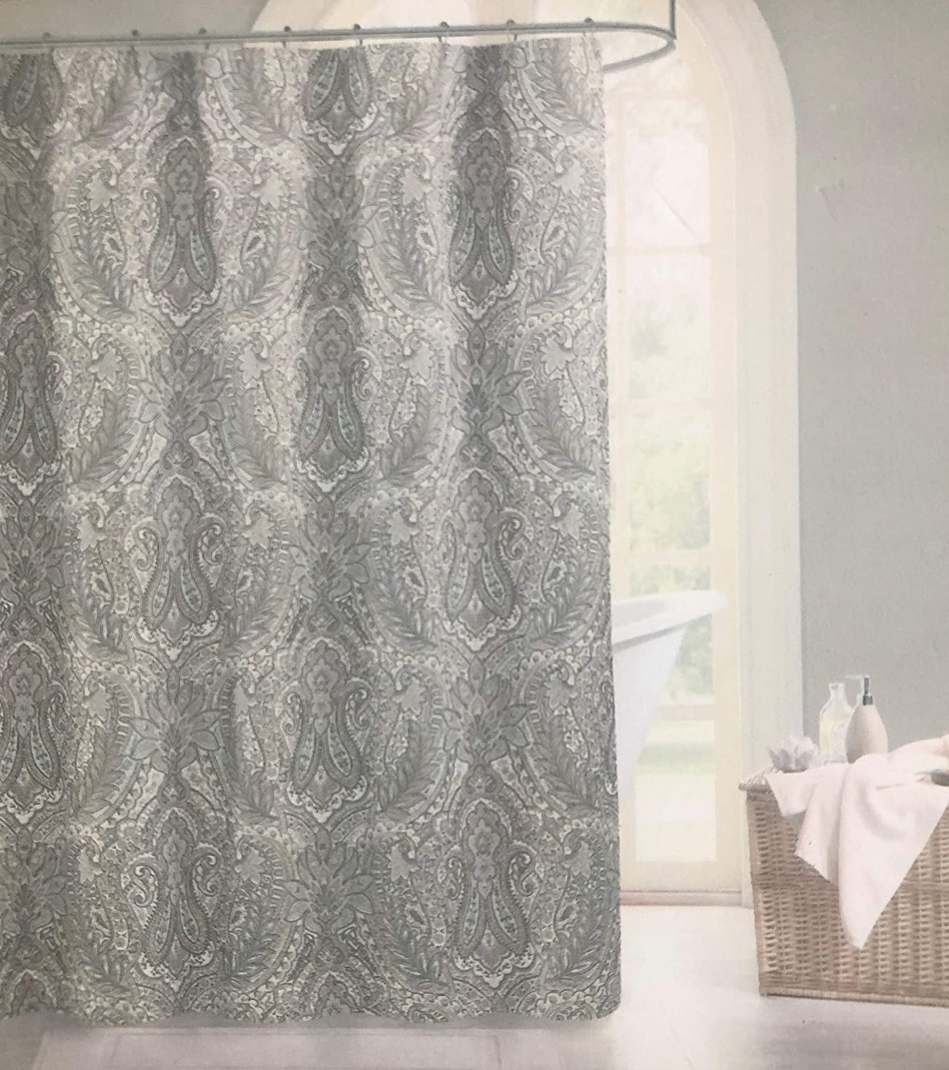 Nadia Luxury Cotton Blend Shower Curtain Gray Turquoise Taupe Grey Taupe Large Medallions Paisley Scroll Design Tahari