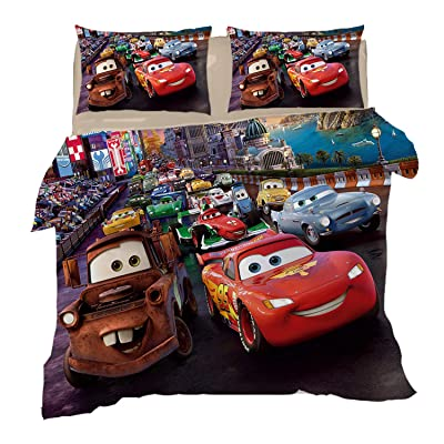 lwfushi 3D Cars Duvet Cover Set for Kids Cartoon Lightning McQueen Bedding Set 100% Microfiber Super Soft Boys and Girl Bed Set 3Piece 1 Duvet Cover 2 Pillowcases Twin Size: Home & Kitchen