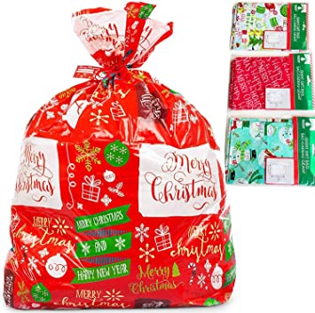 "Holiday Christmas Bike Gift Bag Wrap Red Green Stripe 36/"" x 44/"" Xmas Presents"