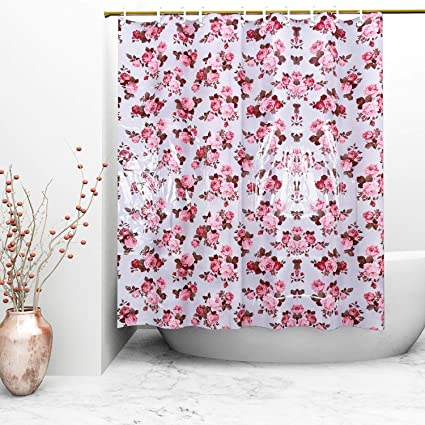 Kuber Industries Floral PVC Shower Curtain with 8 Hooks - 54