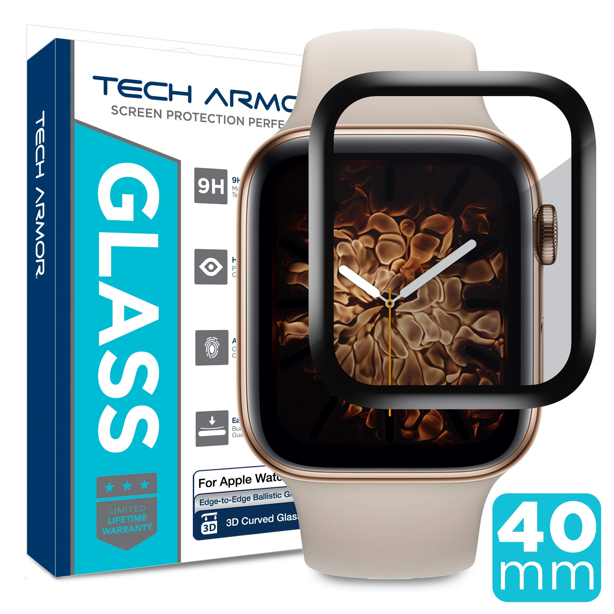 Tech Armor 3D Curved Edge Glass Screen Protector Designed for Apple Watch Series 4 40mm (Black) [1-Pack] by Tech Armor