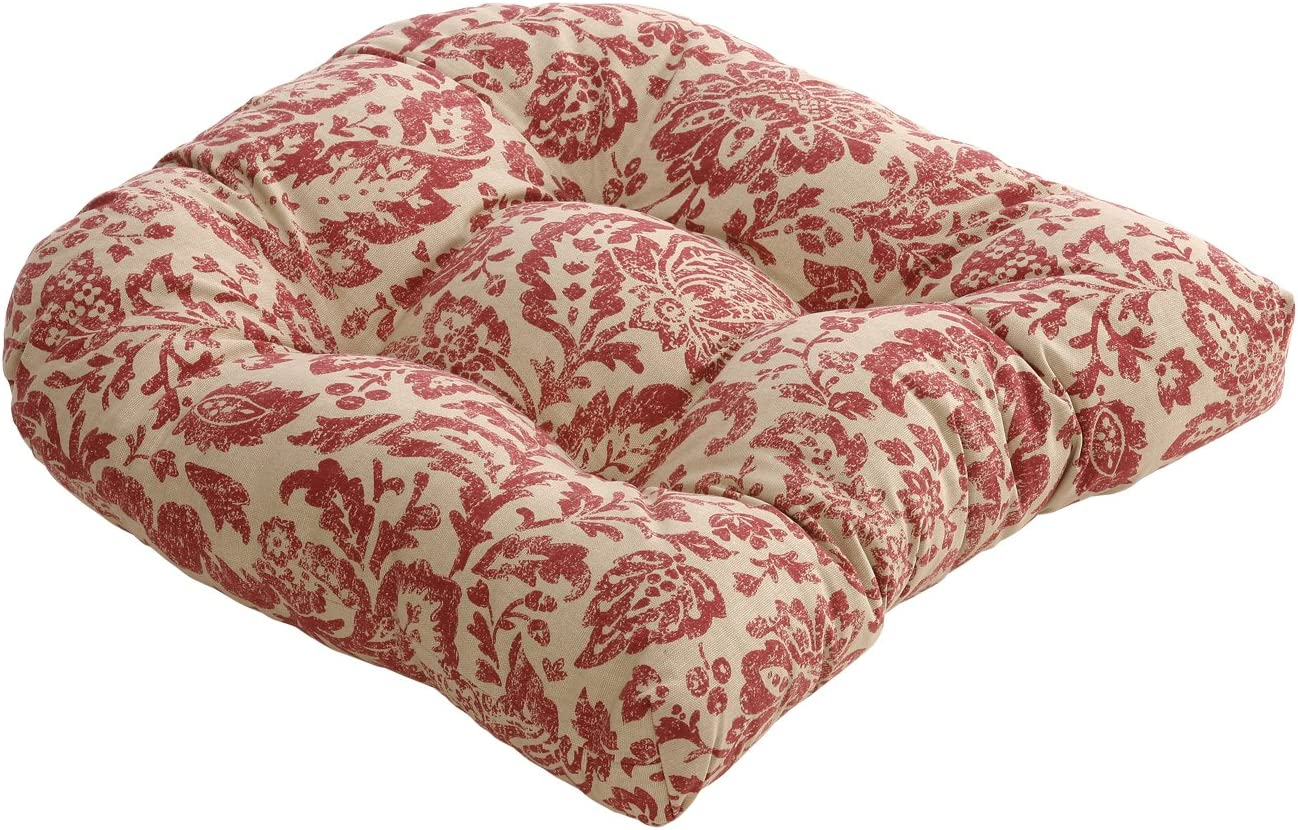 Pillow Perfect Damask Chair Cushion, 19 L x 19 W x 5 D, Red Tan