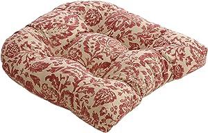 "Pillow Perfect Damask Chair Cushion, 19"" L x 19"" W x 5"" D, Red/Tan"
