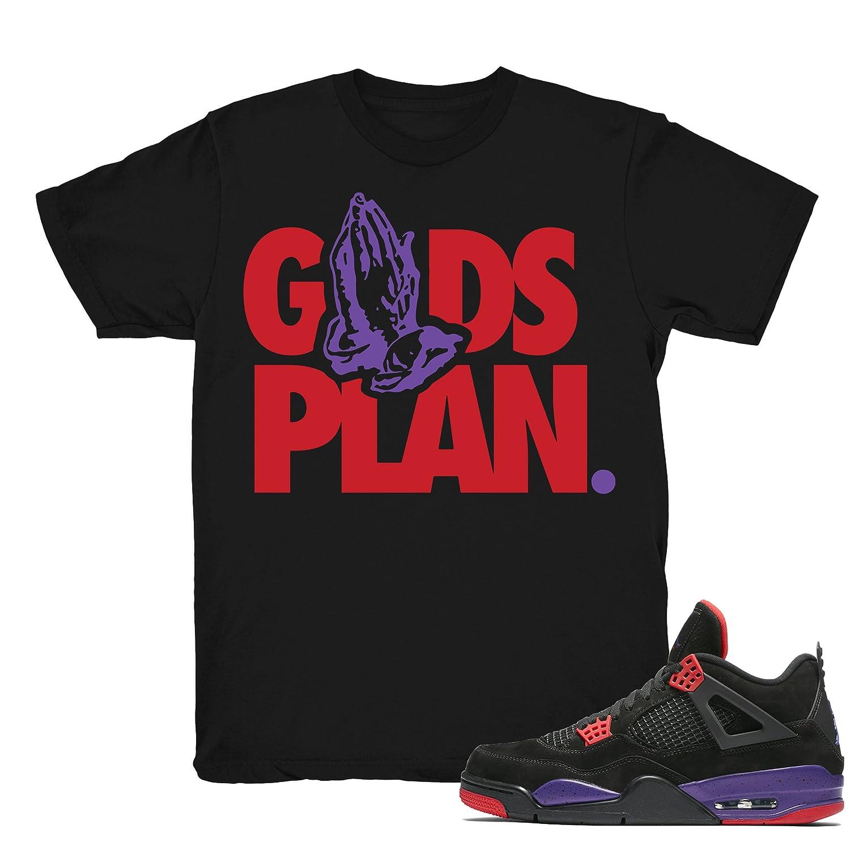 cheap for discount b07df 5c324 Raptors 4 Gods Plan Drake Shirts Match Jordan 4 Raptors Sneakers Black  t-Shirts   Amazon.com
