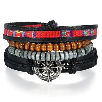 8a11e3723178 JewelryWe Pulsera De Cuero Trenzado para Hombre Mujer Brazalete Hecho A Mano