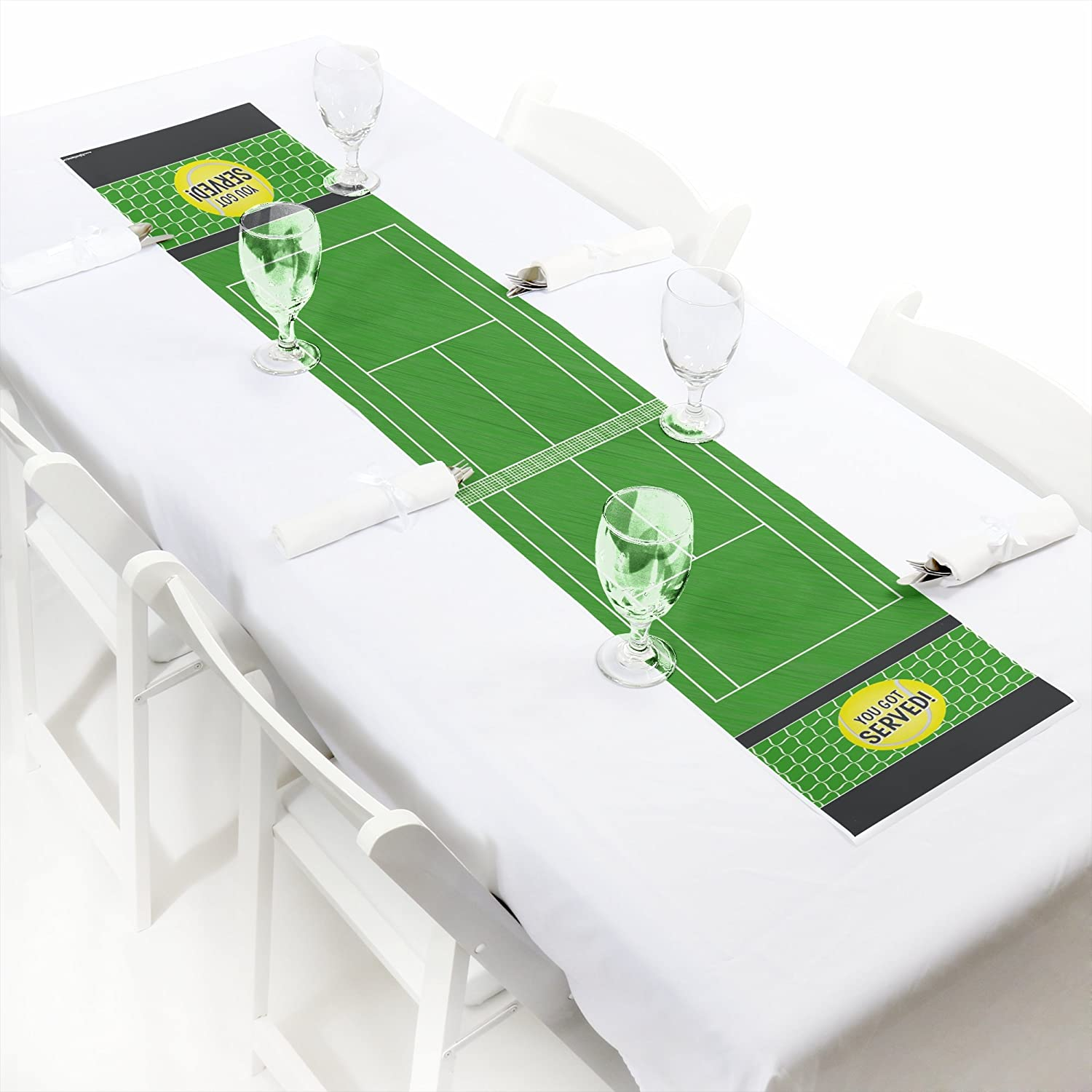 You Got Served Tennis Petite Baby Shower or Tennis Ball Birthday Party Paper Table Runner 30cm x 150cm B079SBP3WB