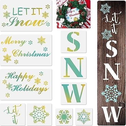 Scrapbooking Stencils & Templates 10 Pieces Let It Snow Stencils ...