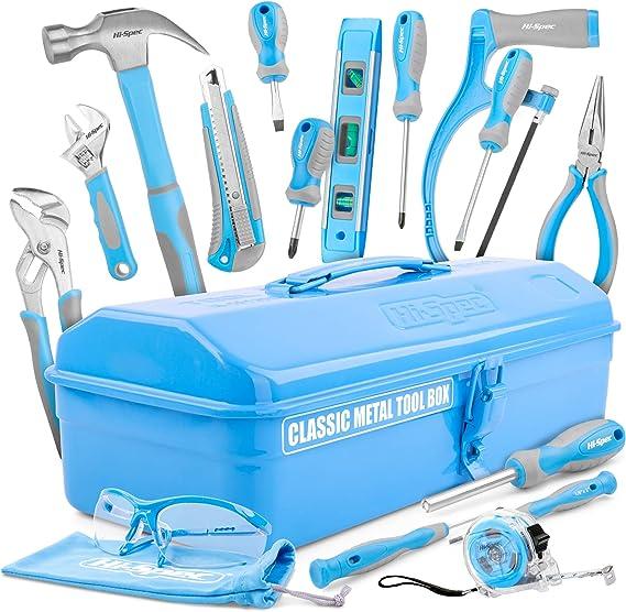 Hi-Spec Caja de Herramientas Clásica de Metal Completa para Niños Carpinteros, 33 Herramientas Reales y Accesorios, Estilo Retro Vintage, Azul Claro y Gris: Amazon.es: Bricolaje y herramientas