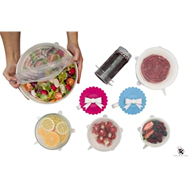 Silicone Stretch Lids (6 Pack) Food Covers - Includes 2 Cup Lid - Reusable, Durable and Expandable to Fit Various Shapes and Sizes – Dishwasher, Microwave, Oven and Freezer Safe