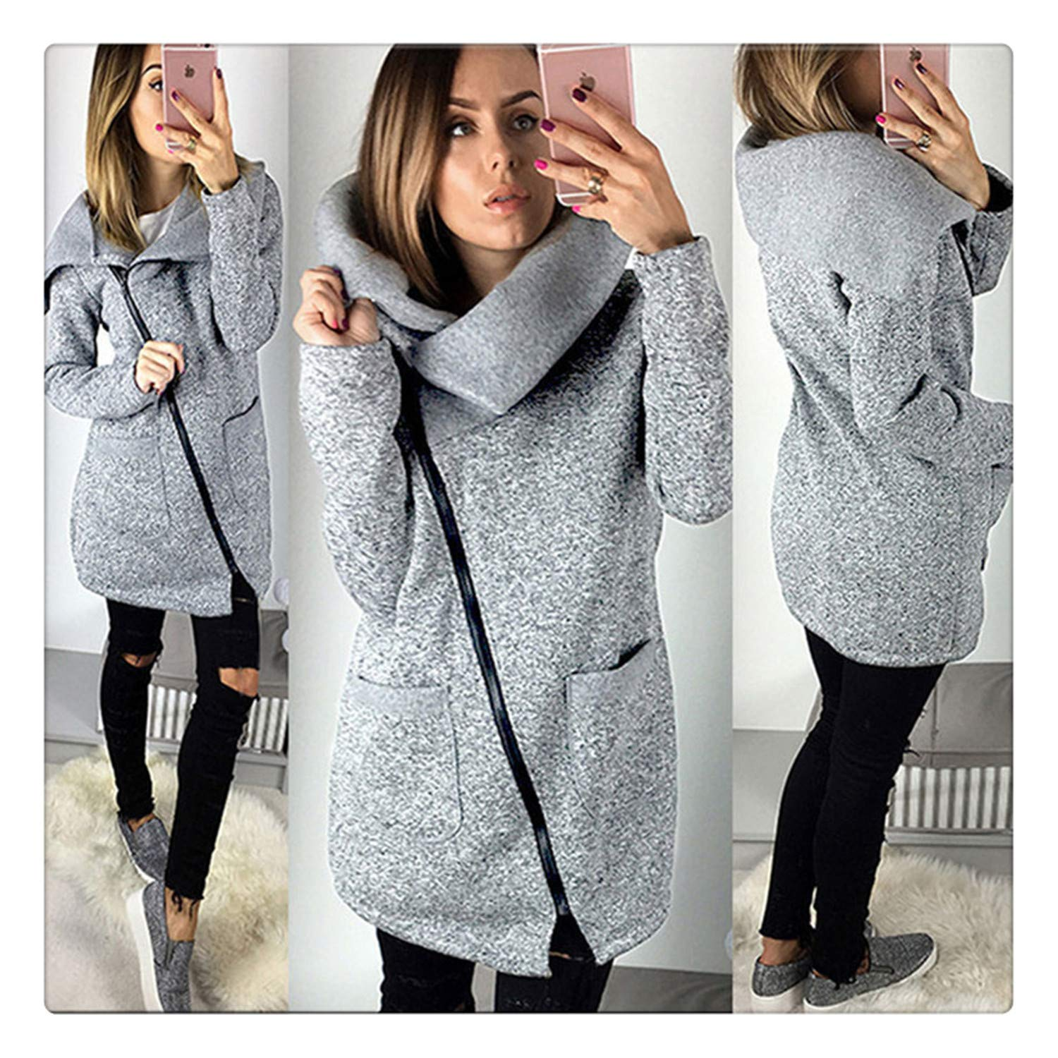 Amazon.com: Hangwucha Women Spring Winter Fleece Sweatshirt Hoodie Long Zipper Hoodies Jacket Coat Outwear Plus Size 5XL Sudaderas para Mujer Gray XL: ...
