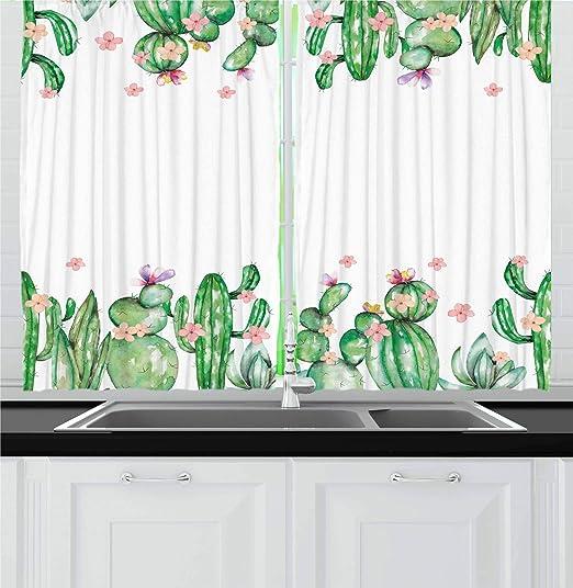 """Mexican Cactus Flower Plant Kitchen Curtains Window Drapes 2 Panels Set 55x39/"""""""