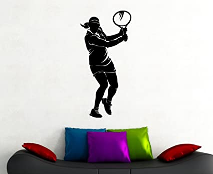 . Woman Tennis Player Vinyl Sticker Sports Wall Decal Art Home