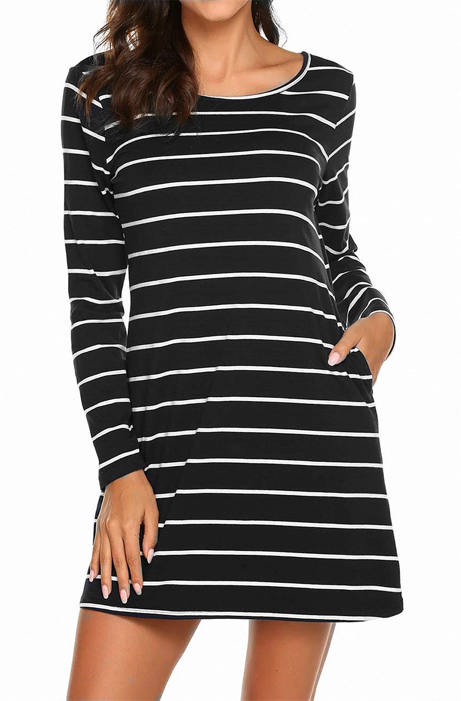 Women T Shirt Dress Pockets Striped Causal Long Sleeve Cross Back Travel Outfit