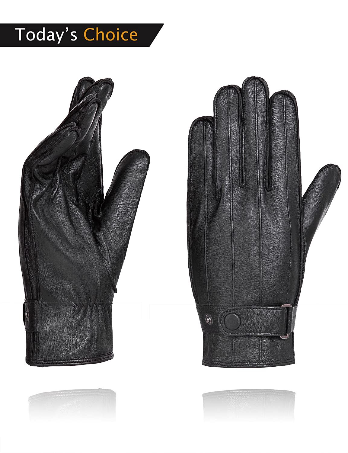 YISEVEN Mens Genuine Nappa Leather Lined Winter Gloves Black//Touchscreen,Black,8.5