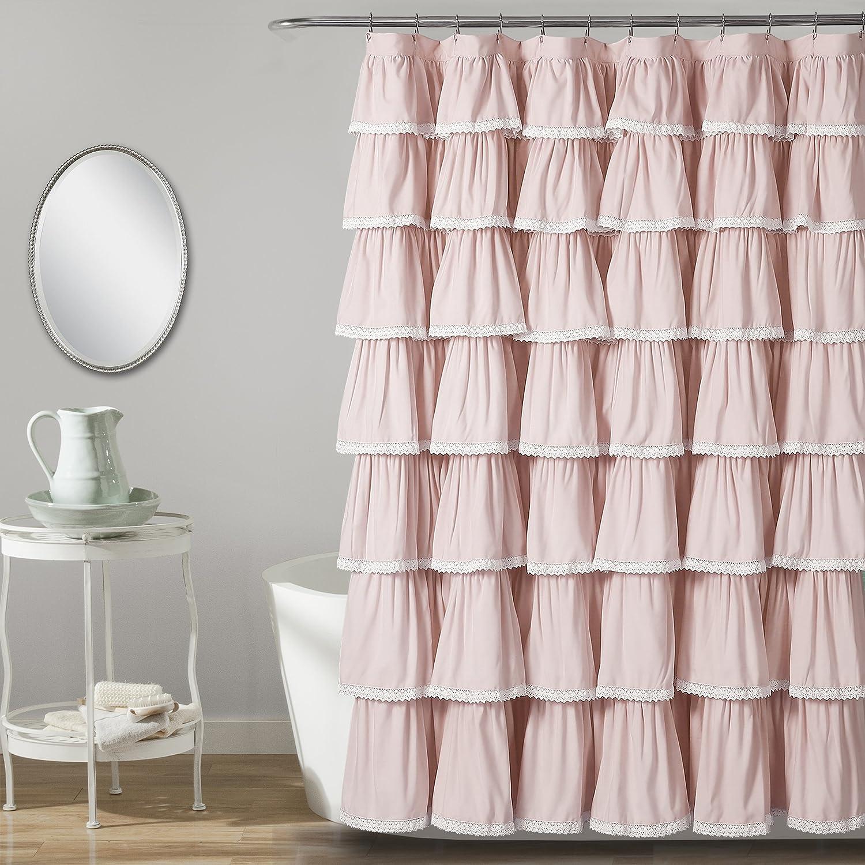 """Lush Decor 16T002873 Lace Ruffle Shower Curtain, 72"""" x 72"""", Blush"""